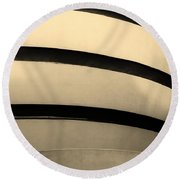 The Guggenheim In Sepia Round Beach Towel