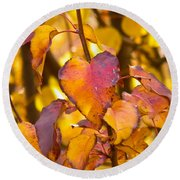 The Heart Of Fall Round Beach Towel