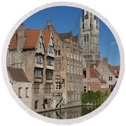 The Historic Center Of Bruges Round Beach Towel