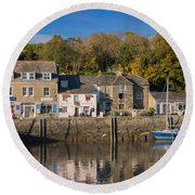 The Inner Harbour At Padstow Round Beach Towel