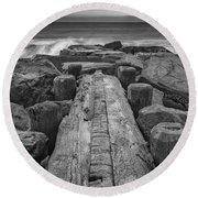 The Jetty In Black And White Round Beach Towel