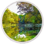 The Lake... Round Beach Towel