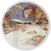 The Lion And The Mouse Round Beach Towel