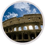 The Majestic Coliseum - Rome Round Beach Towel by Luciano Mortula