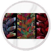 The Many Faces Of Heliconia  Round Beach Towel