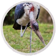 The Marabou Stork In Tanzania. Africa Round Beach Towel