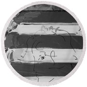 The Max Face In Black And White Round Beach Towel