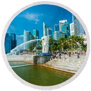 The Merlion  Fountain - Singapore Round Beach Towel
