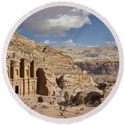The Monastery El Deir Or Al Deir Round Beach Towel