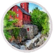 The Old Red Mill Jericho Vermont Round Beach Towel