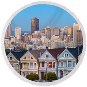 The Painted Ladies Of San Francisco Round Beach Towel