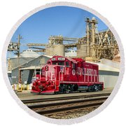 The Red Locomotive Round Beach Towel