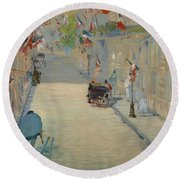 The Rue Mosnier With Flags Round Beach Towel