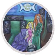 The Silvery Moon Round Beach Towel