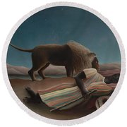 The Sleeping Gypsy Round Beach Towel