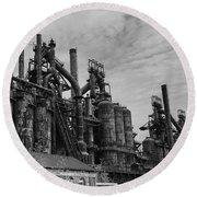 The Steel Mill In Black And White Round Beach Towel