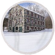 The Stone Mill At The Enfield Shaker Museum Round Beach Towel
