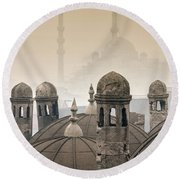 The Suleymaniye Mosque And New Mosque In The Backround Round Beach Towel