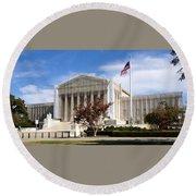 The Supreme Court Facade Round Beach Towel