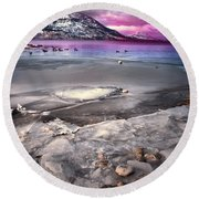 The Thaw Round Beach Towel by Tara Turner