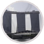 The Towers Of The Iconic Marina Bay Sands In Singapore Round Beach Towel