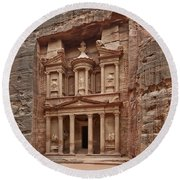 the treasury Nabataean ancient town Petra Round Beach Towel
