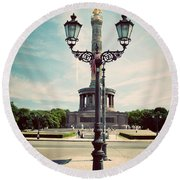 The Victory Column In Berlin Germany Round Beach Towel