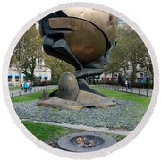 The W T C Plaza Fountain Sphere Round Beach Towel