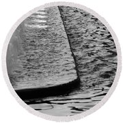 The Water Fountain In Black And White Round Beach Towel