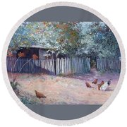 The White Picket Fence Round Beach Towel
