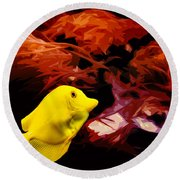 The Yellow Queen Round Beach Towel