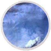 There Be A Storm A Brewin In Nebraska Round Beach Towel