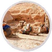 Three Camels Round Beach Towel
