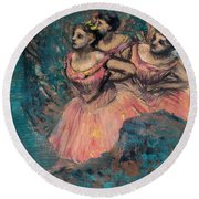 Three Dancers In Red Costume Round Beach Towel