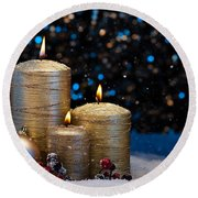 Three Gold Candles In Snow  Round Beach Towel