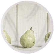 Three Pear Round Beach Towel by Edward Fielding