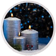Three Silver Candles In Snow  Round Beach Towel