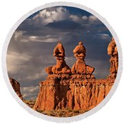 Three Sisters Hoodoos Goblin Valley Utah Round Beach Towel