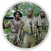 Three Soldiers Statue Round Beach Towel