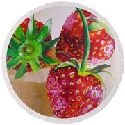 Three Strawberries Round Beach Towel