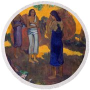 Three Tahitian Women Against A Yellow Background Round Beach Towel