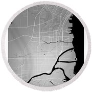Thunder Bay Street Map - Thunder Bay Canada Road Map Art On Colo Round Beach Towel