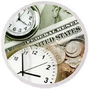 Time Is Money Concept Round Beach Towel