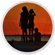 Time With Friends Round Beach Towel