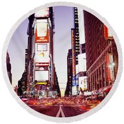 Times Square, Nyc, New York City, New Round Beach Towel