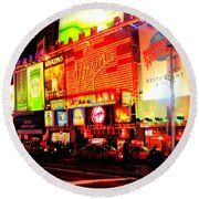 Times Square - New York Round Beach Towel
