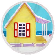 Tiny Yellow Cottage By The Sea Round Beach Towel