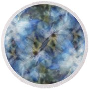 Tissue Paper Blues Round Beach Towel