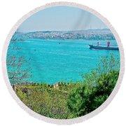 Topkapi Palace Wall Along The Bosporus In Istanbul-turkey  Round Beach Towel