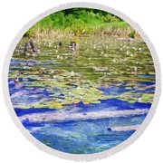 Torch River Water Lilies Round Beach Towel